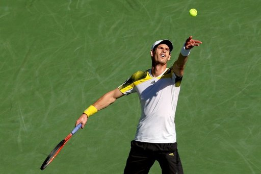 Andy Murray serves at the Indian Wells Tennis Garden on March 10, 2013