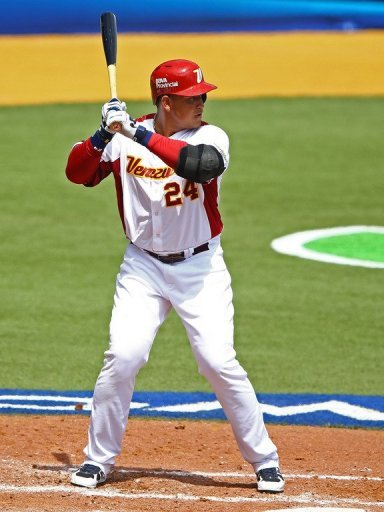 Miguel Cabrera of Venezuela bats against Spain during the first round of the World Baseball Classic on March 10, 2013
