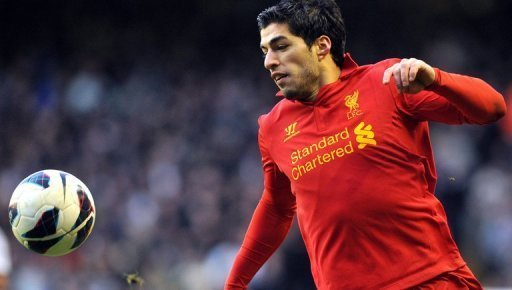Liverpool striker Luis Suarez is pictured during their Premier League match against Tottenham Hotspur on March 10, 2013