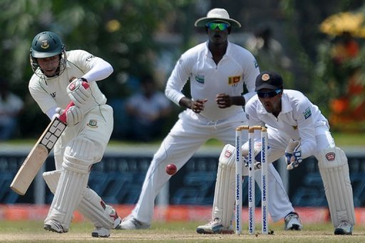 Bangladesh captain Mushfiqur Rahim (L) is pictured during the opening Sri Lanka Test in Galle on March 11, 2013