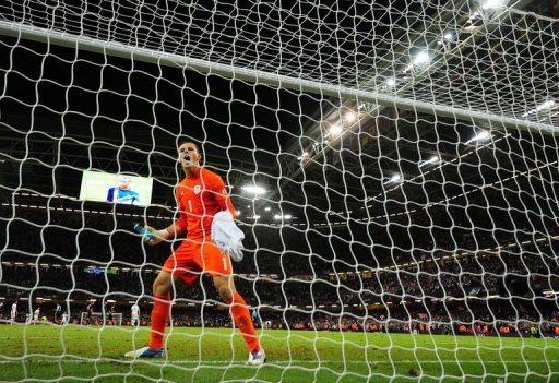 Britain's goalkeeper Jack Butland at the Millennium Stadium in Cardiff, Wales on August 1, 2012