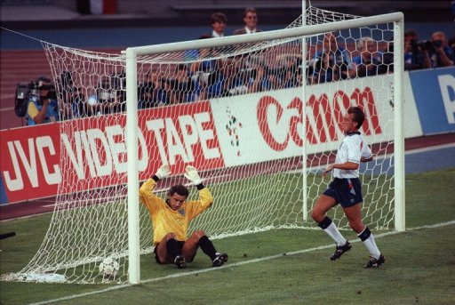 Former England goalkeeper Peter Shilton during the 1990 World Cup semi-final match with Germany, 04 July 1990, Turin