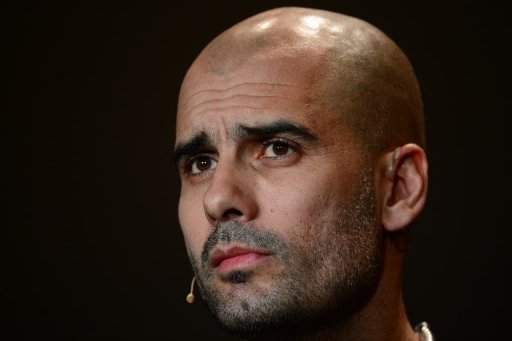 Pep Guardiola attends a press conference on January 7, 2013 in Zurich