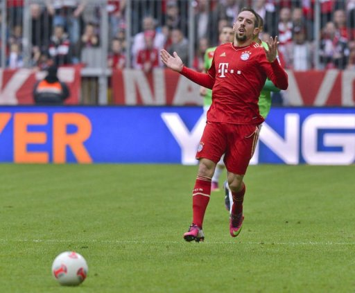 Franck Ribery in action in Munich on March 9, 2013