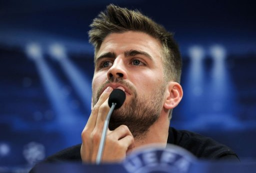 Barcelona's defender Gerard Pique gives a press conference in Sant Joan Despi, near Barcelona, on March 11, 2013