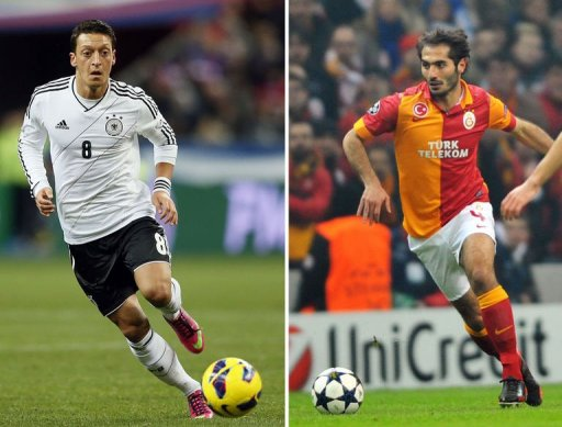 Combo of two recent file pictures shows German national team's Mesut Ozil (L) and Galatasaray's Hamit Altintop (R)