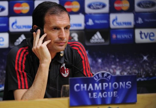 AC Milan's coach Massimiliano Allegri gives a press conference at the Camp Nou stadium in Barcelona on March 11, 2013