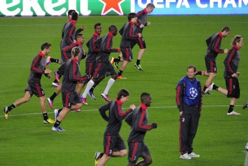 AC Milan train at the Camp Nou on March 11, 2013, the eve of the UEFA Champions League match against holders Barcelona