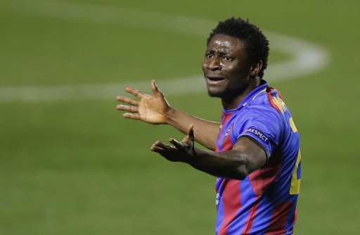 Levante's Nigerian forward Obafemi Martins at the Ciutat de Valencia stadium in Valencia on March 7, 2013
