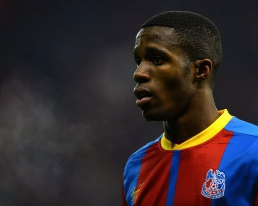 Crystal Palace's Wilfried Zaha plays at the Britannia stadium, Stoke-on-Trent, central England, on January 15, 2013