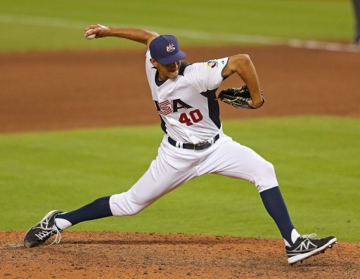 Steve Cishek of the United States pitches during a World Baseball Classic game against Puerto Rico on March 12, 2013