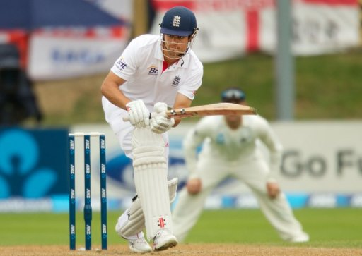England captain Alastair Cook bats during the first Test against New Zealand on March 9, 2013