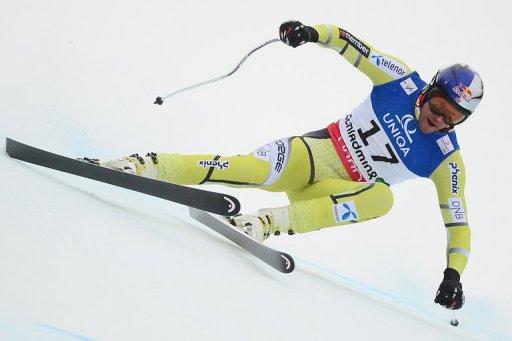 Aksel Lund Svindal competes during the 2013 Ski World Championshis in Schladming on February 9, 2013