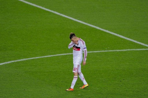 AC Milan's forward Stephan El Shaarawy reacts at Camp Nou stadium in Barcelona on March 12, 2013