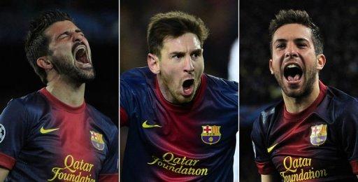 L-R: Barcelona's David Villa, Lionel Messi and Jordi Alba celebrating after scoring at Camp Nou on March 12, 2013