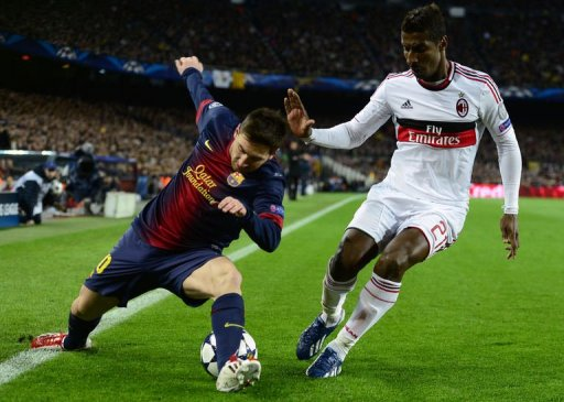 Barcelona's Lionel Messi (L) vies with AC Milan's Kevin Constant at Camp Nou stadium in Barcelona on March 12, 2013