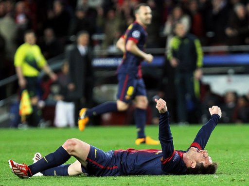 Barcelona's Argentinian forward Lionel Messi celebrates at Camp Nou stadium in Barcelona on March 12, 2013