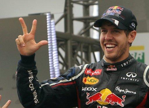 Sebastian Vettel celebrates a third world championship in a row in Brazil on November 25, 2012