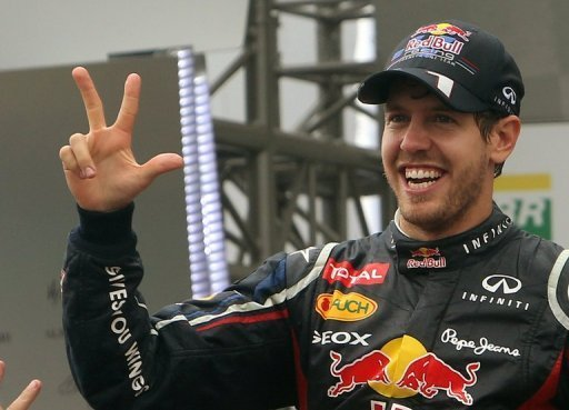 Sebastian Vettel celebrates a third world championship in a row in Brazil on November 25, 2012