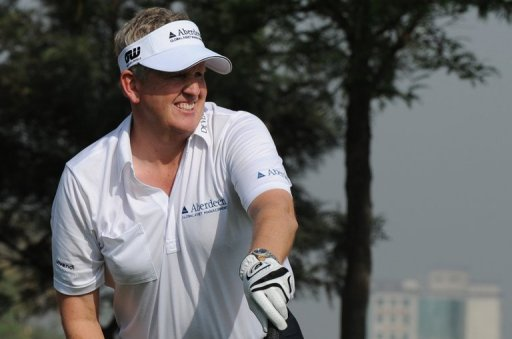 Colin Montgomerie plays a shot during the pro-am event for the Avantha Masters, on March 13, 2013
