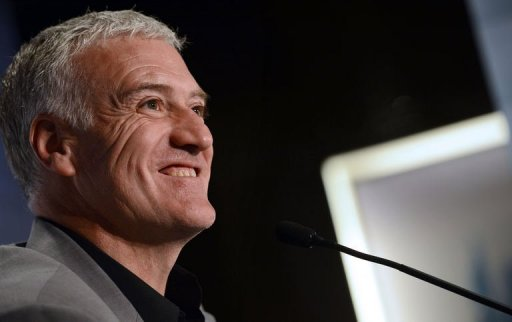 Didier Deschamps smiles on March 14, 2013 during a press conference to announce the squad