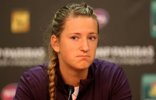 Victoria Azarenka speaks at a press conference after withdrawing on March 14, 2013, in Indian Wells, California