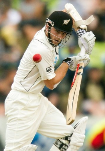 New Zealand's Kane Williamson bats against England, in Wellington, on March 15, 2013