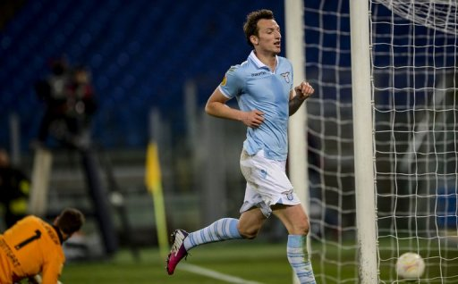 Lazio's Libor Kozak celebrates after scoring against Stuttgart at Rome's Olympic stadium, on March 14, 2013