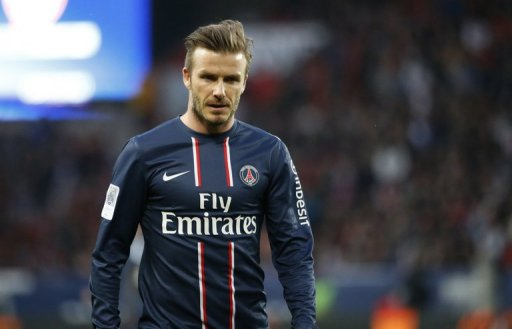 David Beckham on the pitch during a match against Nancy in Paris on March 9, 2013