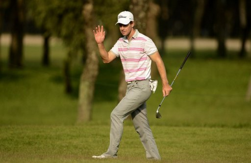 Scott Strange in action during the Thailand Open at Thana City Golf and Sports Club in Bangkok on March 14, 2013