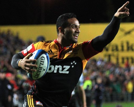 Lelia Masaga (L) of the Waikato Chiefs celebrates as he scores a try in Hamilton on August 4, 2012