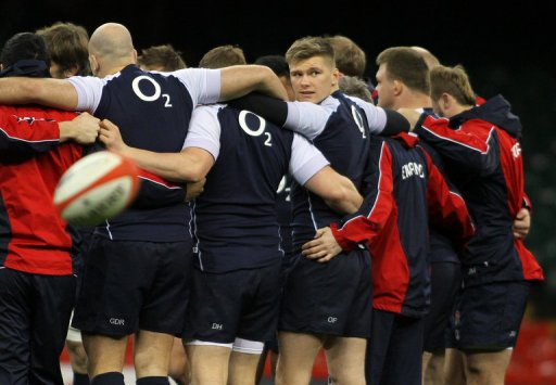 England's rugby players, pictured during a training session at the Millennium Stadium in Cardiff, on March 15, 2013