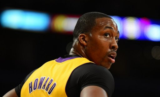Dwight Howard of the LA Lakers, shown on February 28, 2013 in Los Angeles, California
