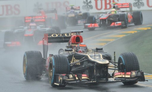Kimi Raikkonen powers ahead during the qualifying session for the Australian Grand Prix in Melbourne on March 16, 2013