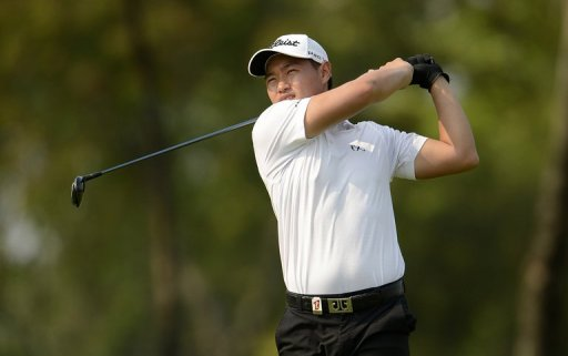 Lucas Lee hits a shot during the Thailand Open at the Thana City Golf and Sports Club in Bangkok on March 16, 2013