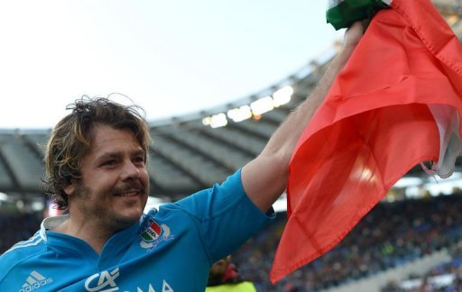 Italy's prop Andrea Lo Cicero salutes the crowd after their Six Nations International Rugby Union match, March 16, 2013