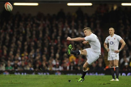 England's fly half Owen Farrell kicks a penalty in Cardiff on March 16, 2013