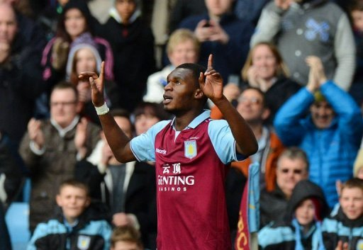 Aston Villa's forward Christian Benteke celebrates after scoring a goal at Villa Park in Birmingham, March 16, 2013