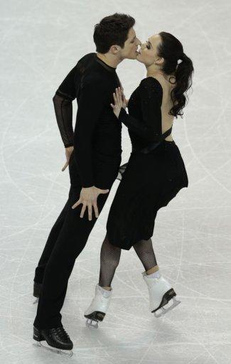 Tessa Virtue and Scott Moir representing Canada   skate their free program in London, Ontario, March 16, 2013