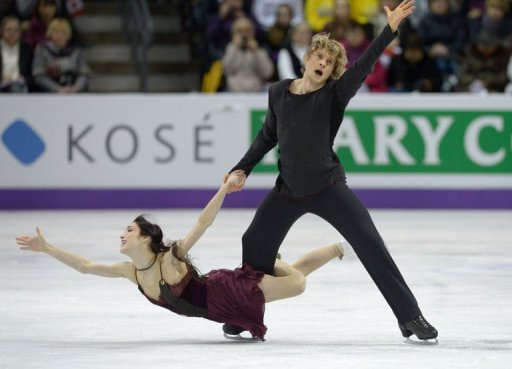 Gold medalists Meryl Davis and Charlie White of the US compete, March 16, 2013 in London, Canada