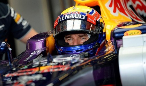 Mark Webber is pictured in his car during the 3rd practice session for the Australian GP in Melbourne on March 16, 2013