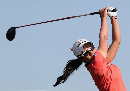 Ai Miyazato of Japan hits a tee shot on the 18th hole at the RR Donnelley LPGA Founders Cup March 16, 2013 in Arizona