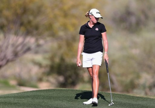 Stacy Lewis stands on the 16th green at the LPGA Founders Cup at Wildfire Golf Club, March 16, 2013 in Phoenix, Arizona