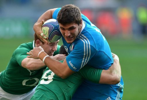 Italy winger Giovanbattista Venditti (R) is pictured during their Six Nations match against Ireland on March 16, 2013