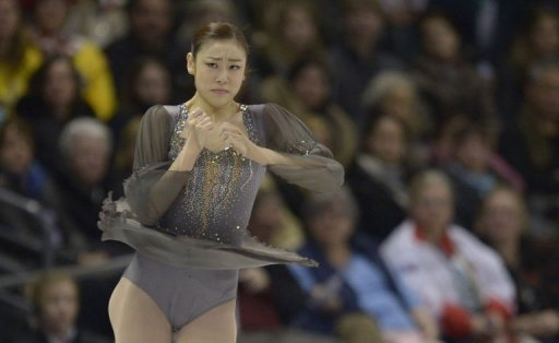 Kim Yu-Na performs during the women's free skating event at the World Figure Skating Championships on March 16, 2013