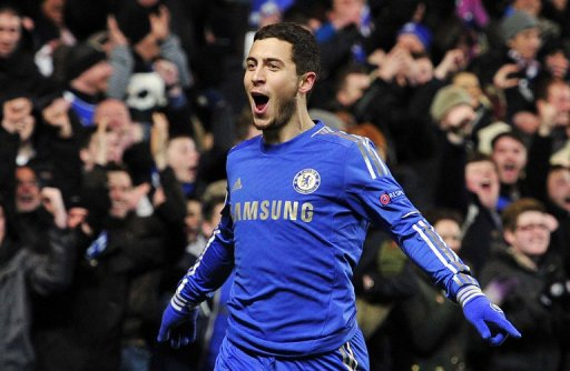 Chelsea's Eden Hazard celebrates scoring a goal during a match in London, on February 21, 2013