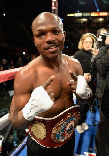Timothy Bradley celebrates after defeating Ruslan Provodnikov to retain his WBO welterweight title on March 16, 2013