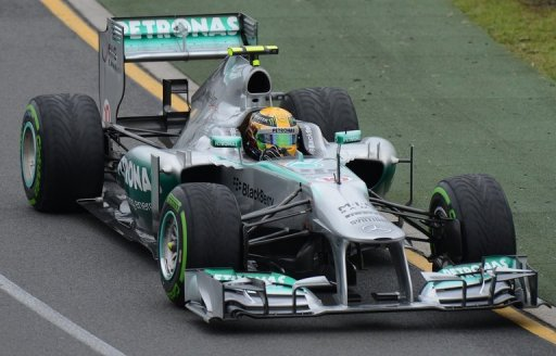 Lewis Hamilton takes a bend during the qualifying session at the Australian Grand Prix in Melbourne on March 17, 2013