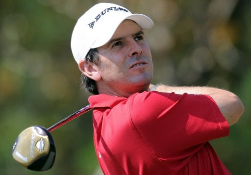 Thomas Aiken tees off on the fifth hole during the Avantha Masters golf tournament in Greater Noida on March 17, 2013