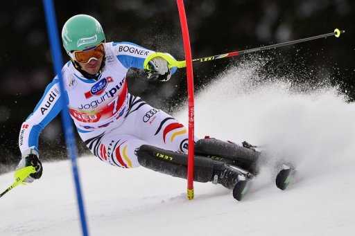 Felix Neureuther competes during the Men Slalom race at the Alpine ski World Cup finals in Lenzerheide on March 17, 2013